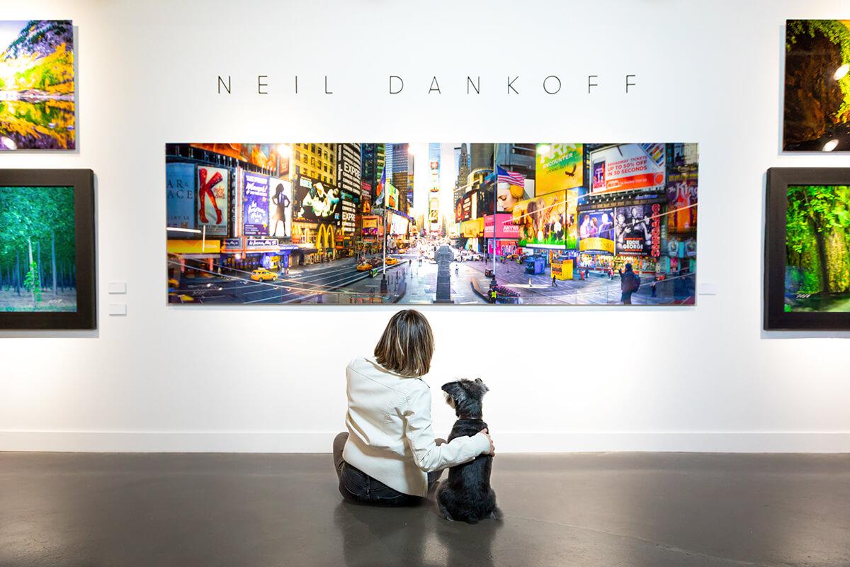 dog in art gallery viewing artwork