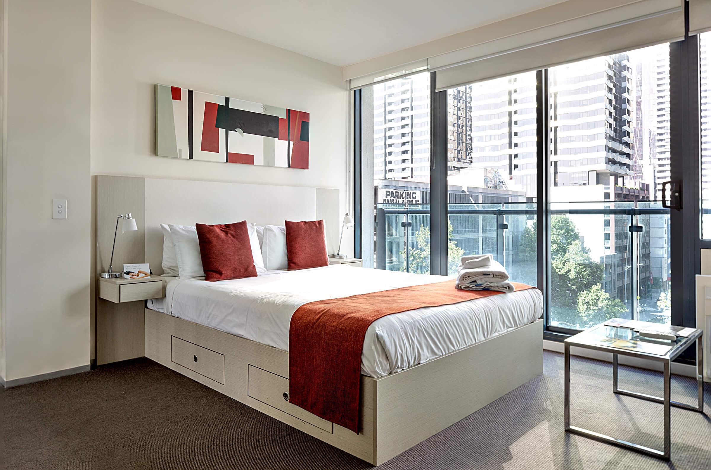 bedroom overlooking city of melbourne