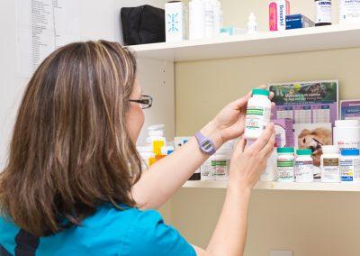 choosing medication at vet hospital