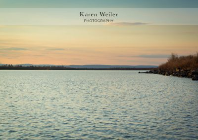 arctic ocean with land forms at sunset - fine art print